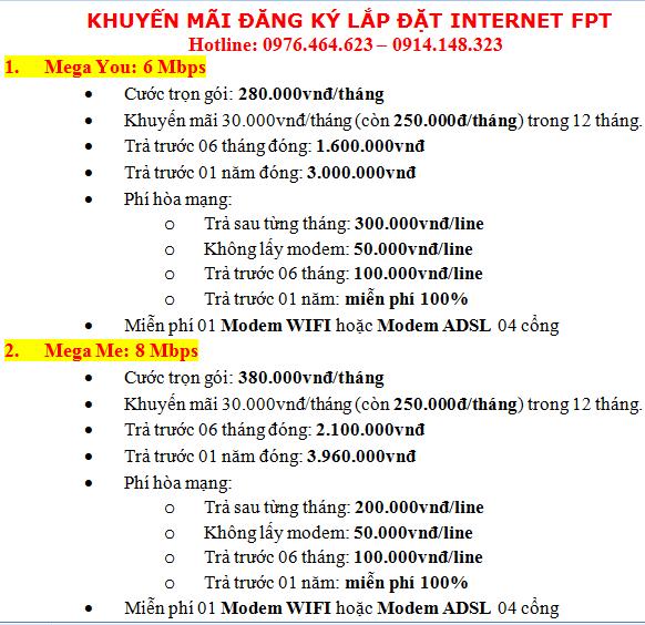 khuyến mãi lắp đặt internet fpt tại hà nội